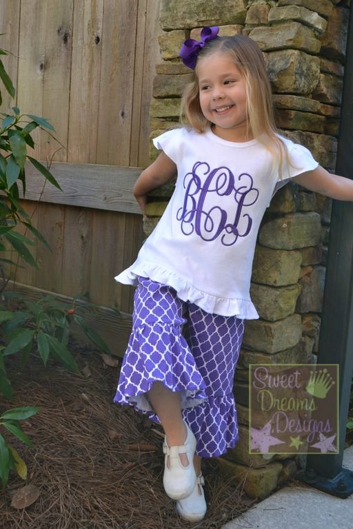Purple Quatrefoil Knit Capri Set with Large Monogram